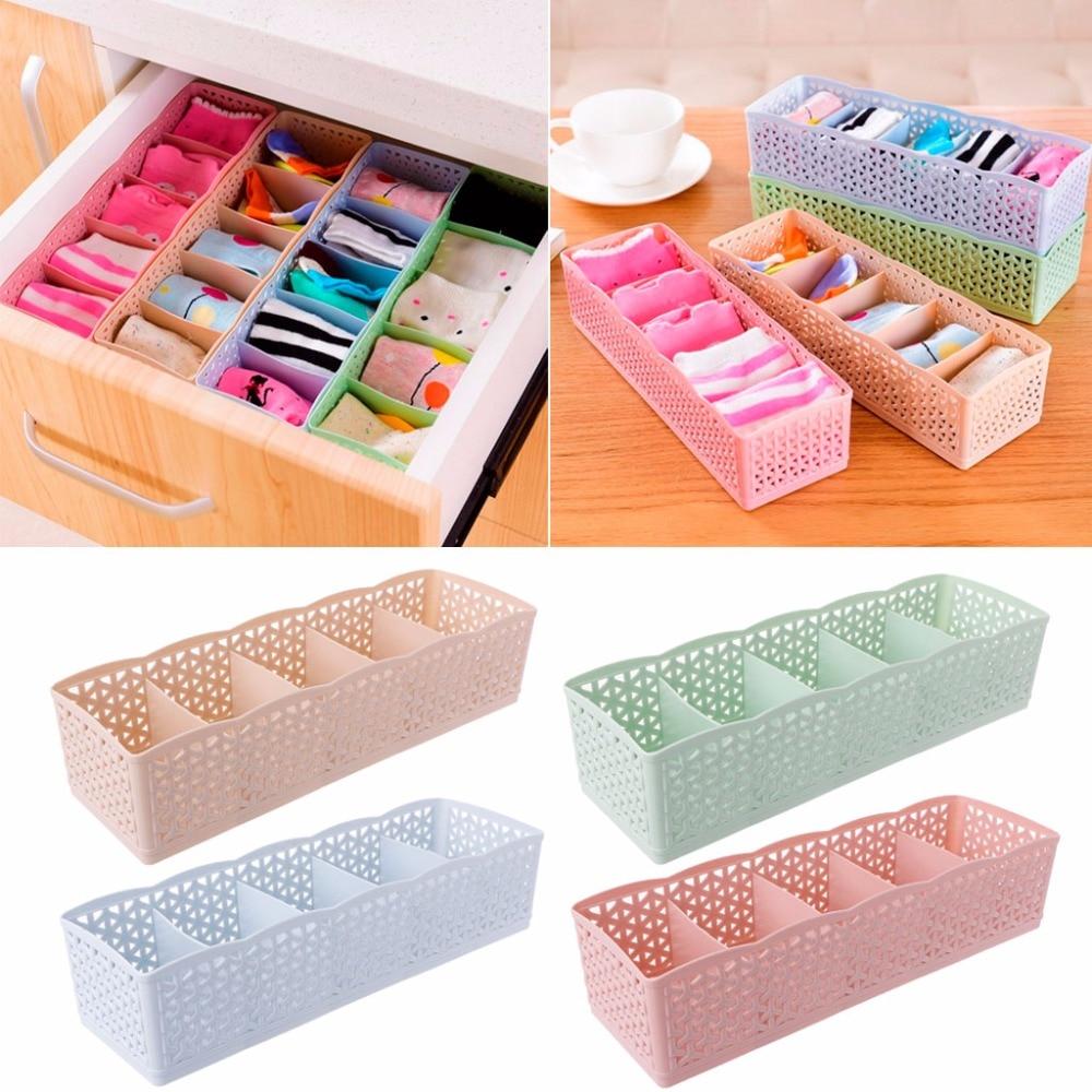 1Pc Plastic Underwear Organizer Storage Box Bra Socks Drawer Cosmetic Divider Tidy 5 Cells Home Organizers Candy Color C42