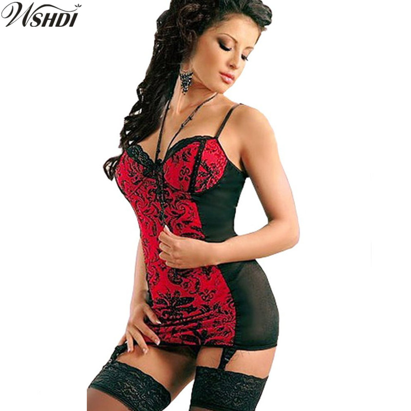 S-6XL Hot Women Sexy Nightgown Black Red Pattern Babydoll Sleepwear Nightwear V-neck Lace Nighties Sexy Underwear