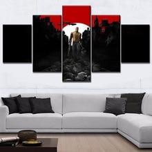 цена на 5 Panel Canvas Print Game Wolfenstein 2 Poster Modern Decor Framework The New Colossus Painting Home Decorative Bedroom Wall Art