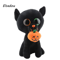 Elsadou Ty Beanie Boos Gefüllte & Plüsch Tiere Plus Schwarze Katze mit Kürbis Halloween Kundenspezifische Spielzeug Puppe