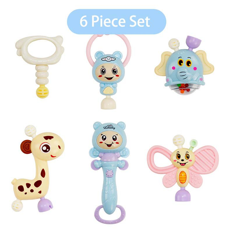 Cute Baby Hand Bells Toys Puzzle music and Light Shaking Rattles 0-36 Months Sound and light rhythm A style 6 piecesB 10 pieces