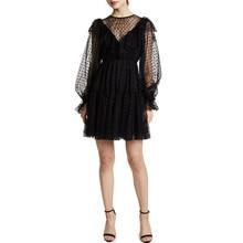Sexy Long Sleeve Black Mesh Lace Mini Dress Casual Polka Dot Ruffled Lantern Sheer Party Club