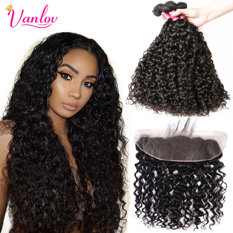 Vanlov Human Hair 613 Bundles With Frontal Brazilian Water Wave Bundles With Closure Frontal With Bundles Brazilian Hair Remy