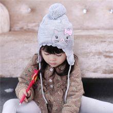 38364c22f1b 1-3 Year Girls Winter Hat Grey Solid Warm Keeping Hats Earflap Ear Cover Cap