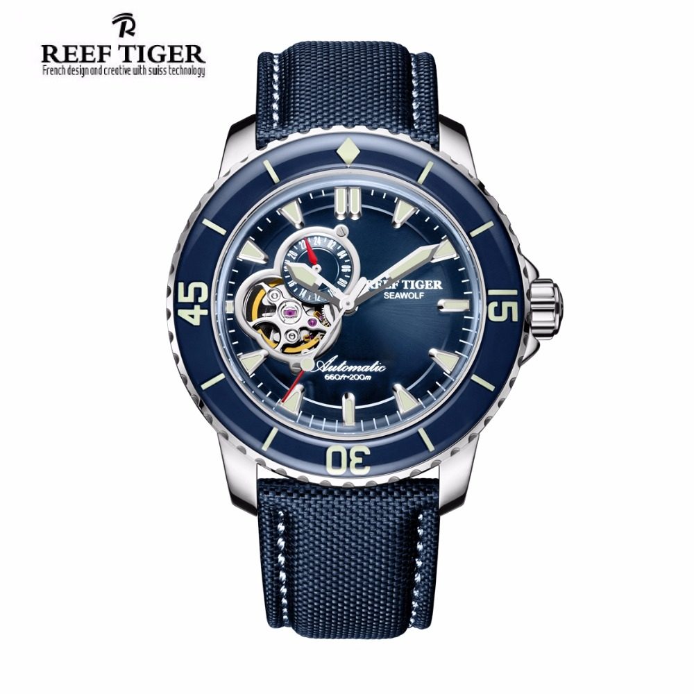 Reef Tiger/RT Mens Dive Watches Nylon Strap Blue Dial Watches Luminous Automatic Watch with Date RGA3039 reef tiger rt top brand automatic watches enjoy your live style dive watch luminous nylon leather rubber watches rga90s7