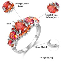 CiNily Orange Fire Opal Orange Garnet Silver Plated Ring Wholesale Wedding Party Gift for Women Jewelry Ring Size 5-12 OJ4576 5