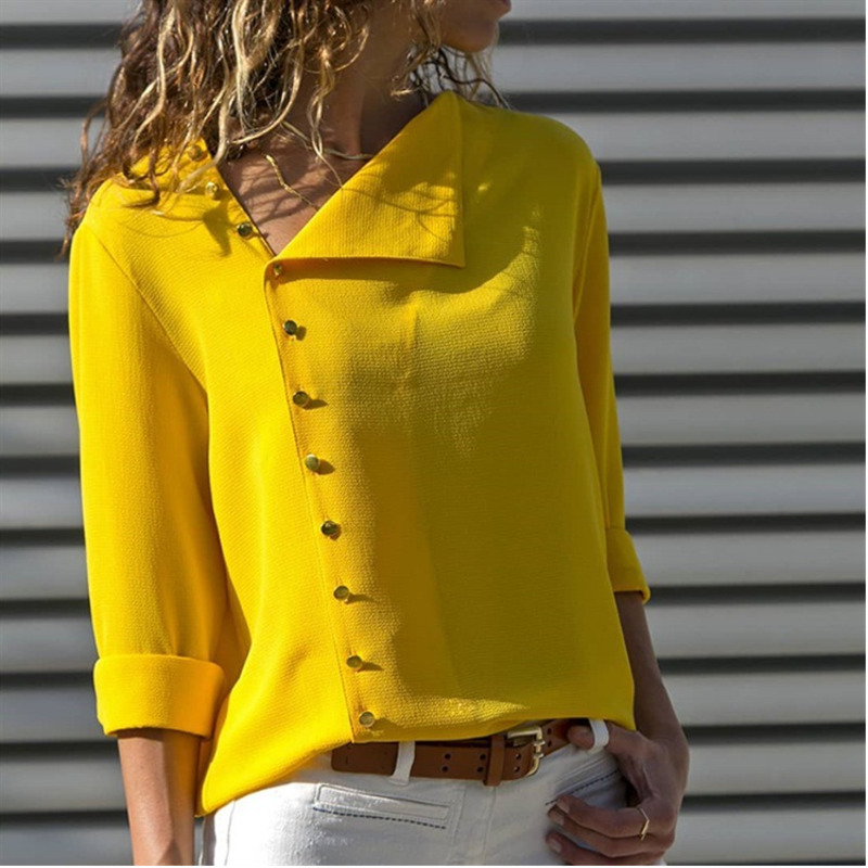 Autumn Button Irregular Oblique Lead Long Sleeve Blouse Ladies Office Shirts Loose Plus Size Womens Clothing Blusas Mujer Ez*