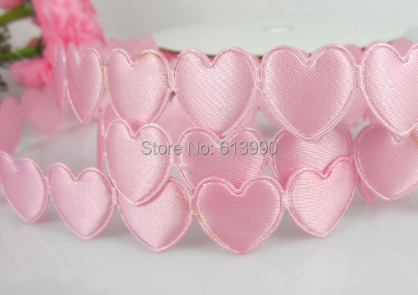 Free Shipping 20Yards Pink Connect Padded Felt Heart Applique/Craft Wedding 16mmx16mm
