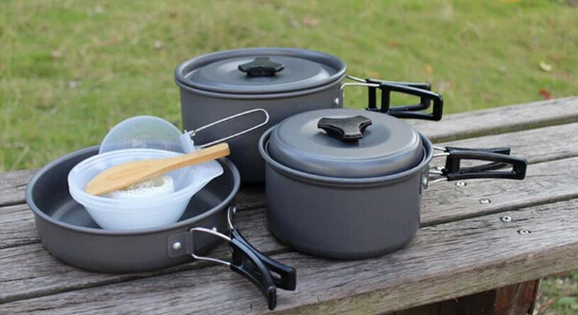 (10 pieces/set) Stainless Steel Outdoor Camping Hiking Cookware Backpacking Cooking Set Picnic Bowl Pot Pan Set thicken 4 pcs stainless steel hanging pot set outdoor hiking traveling kit picnic skillet flambe campfire cookware bonfire party