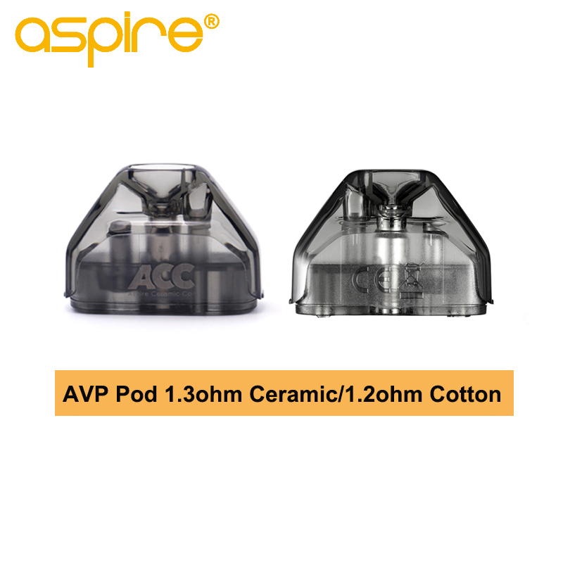 2 teile/schachtel Aspire AVP Pod 2ML Kapazität Pod Vape Patrone Mit 1.2ohm Baumwolle/1.3ohm Keramik Spule Elektronische Zigarette zerstäuber