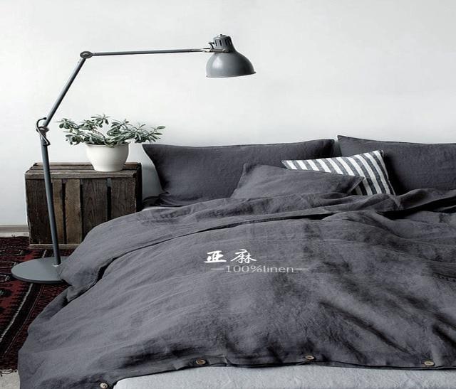linge de lit en lin français Naturel Pur Lavé Linge housse de Couette Français Linge de Lit  linge de lit en lin français