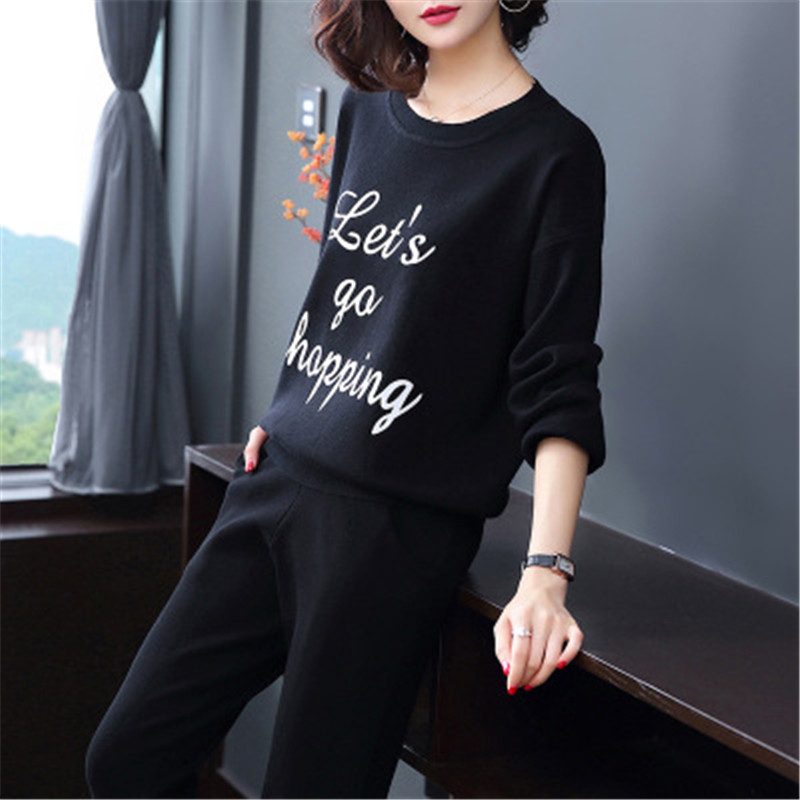 2018 moda na co dzień spodnie garnitur jesień okrągły list sweter + wysoka talia cienkie proste spodnie dwie kobiety w Zestawy damskie od Odzież damska na  Grupa 3