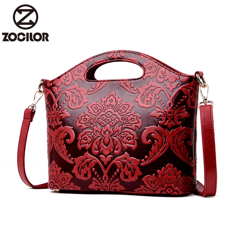 2019 Luxury Flowers Handbags Women Embossed Leather Shoulder Bags