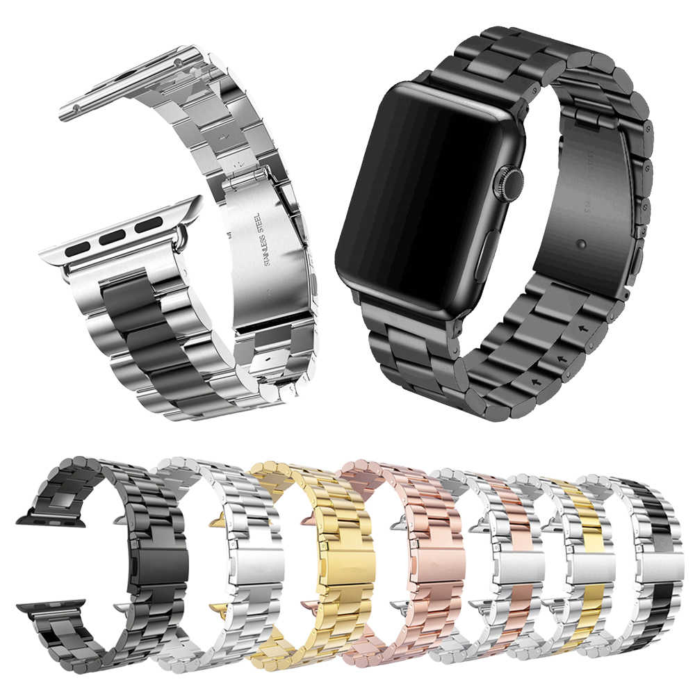 Banda Clásica de Metal de acero inoxidable para Apple Watch 5 44mm 40mm 38mm 42mm correa de pulsera de enlace para Watch serie 1, 2, 3, 4 correa de reloj
