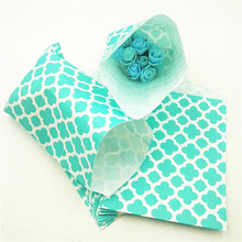 25pcs/set Hot Paper Bags Blue Flower Kraft Gift Bags/Festival For Wedding Birthday Party Supplies