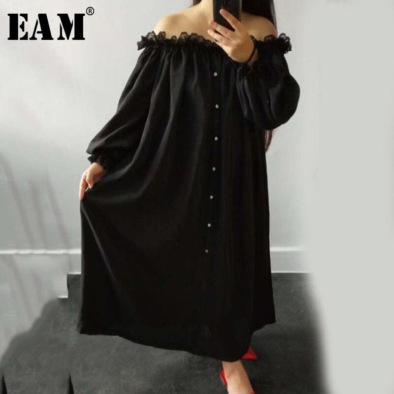 [EAM] 2019 printemps été femme tempérament élégant couleur noire à manches longues bouffantes épissé dentelle Slash cou longue lâche robe LG028