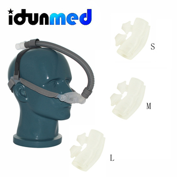Maski CPAP nosa poduszki maska Respirator z rozmiar 3 rozmiary poduszki pasek małe rurki do bezdechu sennego anty chrapanie rozwiązanie tanie i dobre opinie CPAP Nasal Pillow Respirator Mask CE ISO13485 FDA Clear Medical Graded Silicone and PC Headgear 3 Size Cushions Tube User Manual