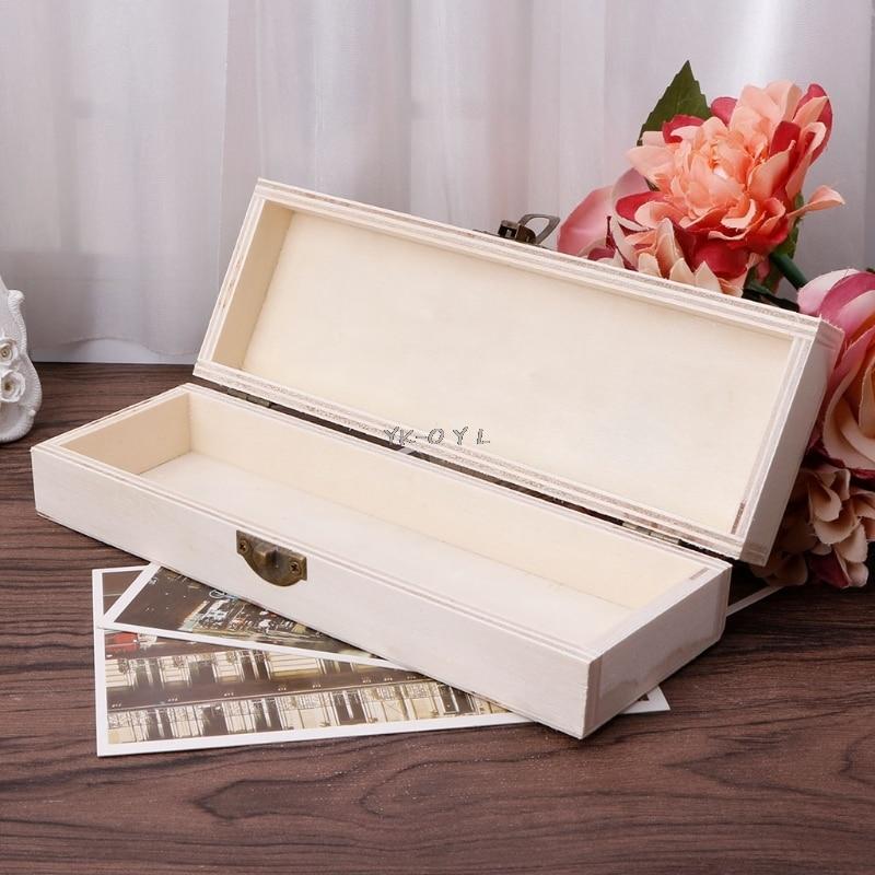 Handmade Jewelry Storage Box Wood Lock Up Pen Case Pencil Organizer Crafts Case