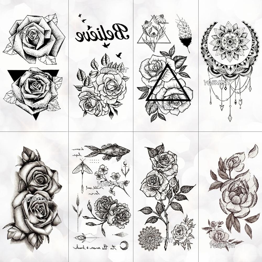 New Waterproof Temporary Tattoo Sticker Old School Rose Pattern Tattoo Water Transfer Tattoo Flash Tattoo