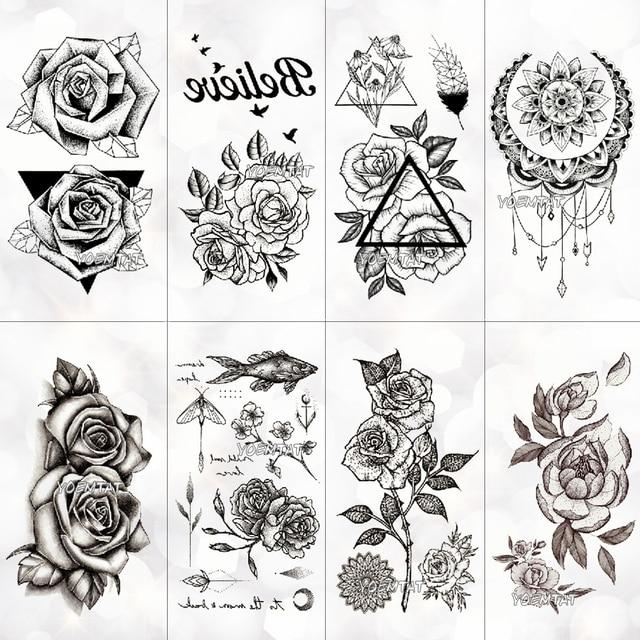 Nuevo tatuaje temporal a prueba de agua etiqueta engomada del tatuaje de la vieja escuela patrón de Rosa tatuaje de transferencia de agua tatuaje flash