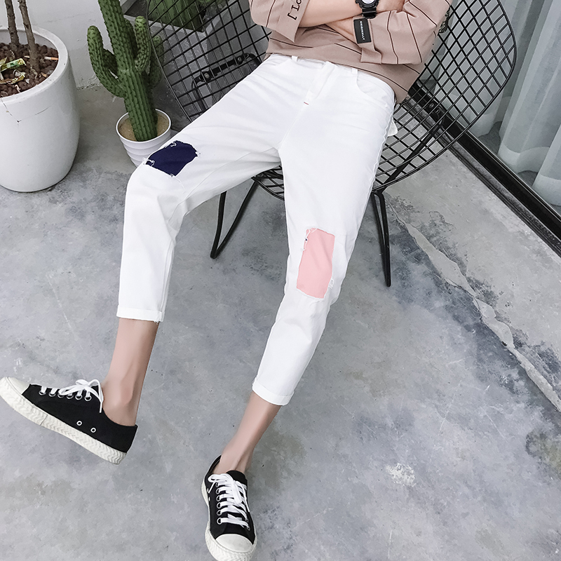 2018 Spring Xia Men Nine Part Leisure Time Pants Holes Patch Bound Feet Haren The Are Very Good Free shipping Favourite