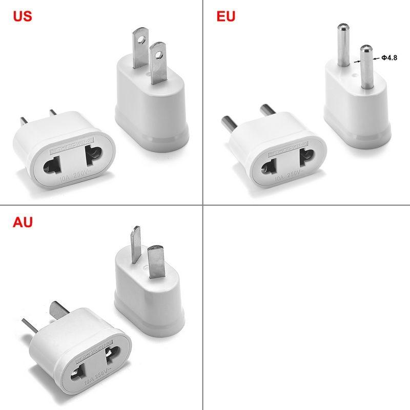 10pcs European EU KR Plug Adapter Converter China US To EU Euro Travel Adapter Electrical Plug AU Japan Power Charger Socket