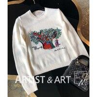 Svoryxiu дизайнер осень зима Вязание свитера Для женщин Дерево Любви Вышивка High End кашемир пуловеры; свитеры