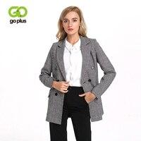 GOPLUS Women Double Breasted Plaid Blazer Long Sleeve Slim Fit Office Ladies Blazer 2018 Autumn Jacket Women Blazers C6645