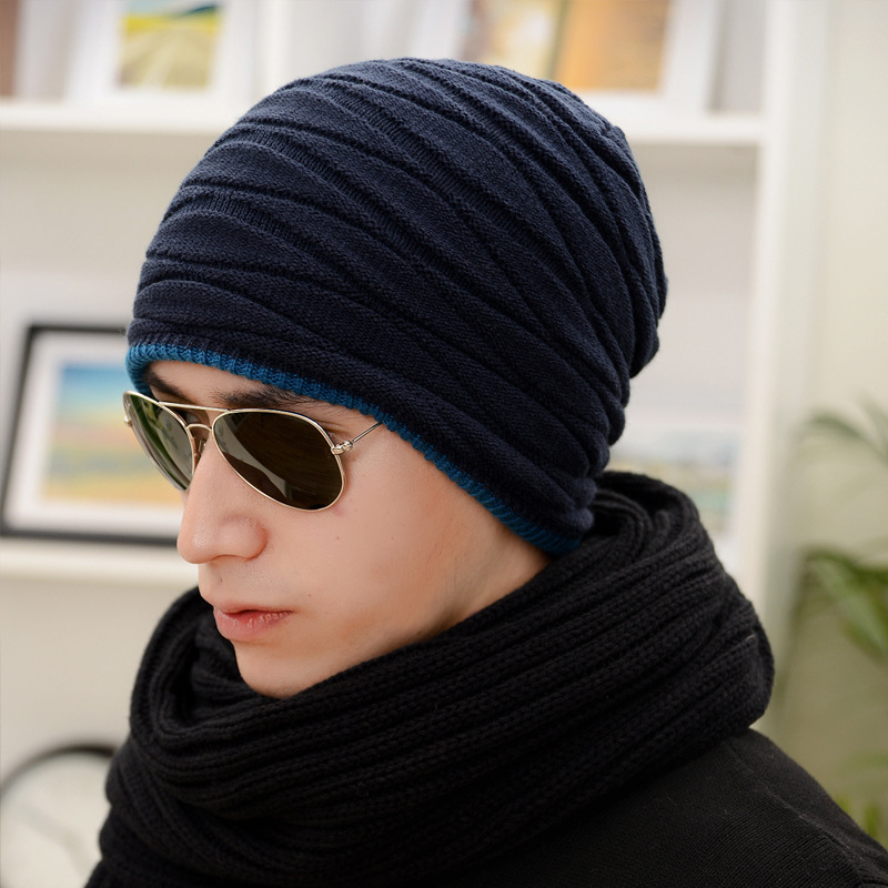 Hot Style Sets Wool Knitted Cap Thickening Hat Scarf  Man Han Edition Trend In Winter
