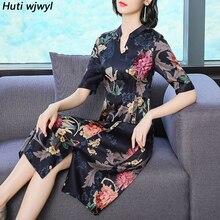 2019 Vintage Floral Silk Midi Dresses Summer New 4XL Plus Size Print Chinese Style Sundress Elegant Women Bodycon Party Vestidos