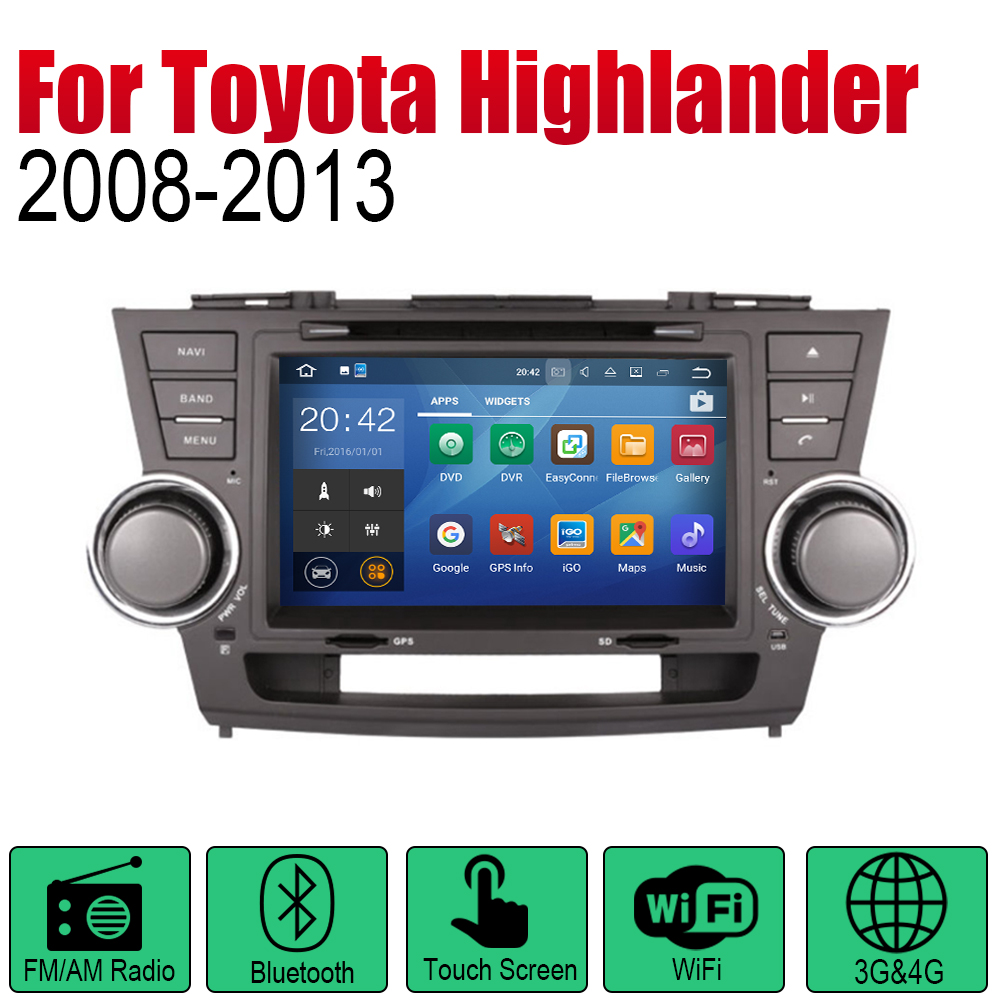ZaiXi Android Car Radio Stereo GPS Navigation For Toyota Highlander 2008 2013 Bluetooth wifi 2din Car Radio Stereo Multimedia in Car Multimedia Player from Automobiles Motorcycles