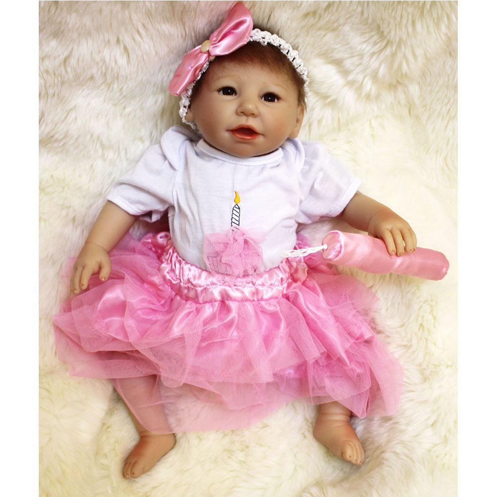 45-50CM Silicone Doll Reborn Baby girl realistic Handmade Cloth Body Reborn BabiesPink Toys Baby Growth Partners Best kids Gift partners cd