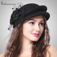 England Style Elegant Australia 100 Wool Beret With Flower Autumn Winter Women Vintage Cute Berets Black