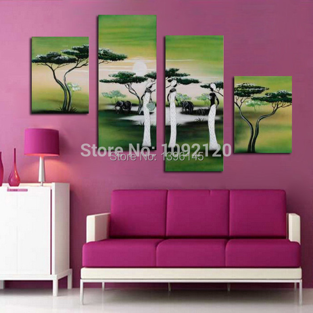 Abstract Oil Painting Grassland Life The Indian Woman Relaxing ...