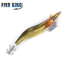 FISH KING 1.5 2.zero 2.5 Luminous Wooden Shrimp Fishing Lure 7-17cm Squid jigs hook Fishing Arduous Synthetic Bait sea Fishing Rig