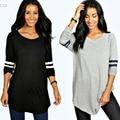 2016 мода футболка женщины с длинным рукавом о-образным вырезом большой плюс размер футболка высокой упругой черный серый 2 цвета camisetas длинные туника топ