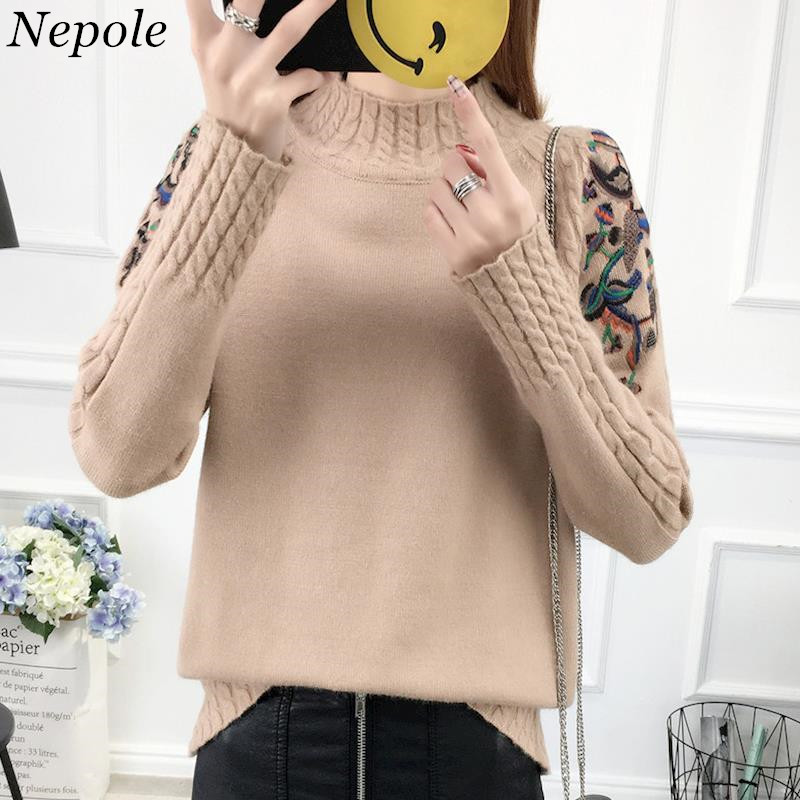 Neploe Female Pullover Women Sweater Sueter Embroidery-Sleeve Knitted OF Elegant Winter