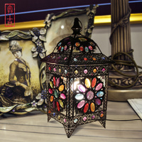 Bohemian Style Table Lamp Crystal Color Vision Lamp Bed Light Cafe / Studio Decoration Light AC90 260V Free Shipping