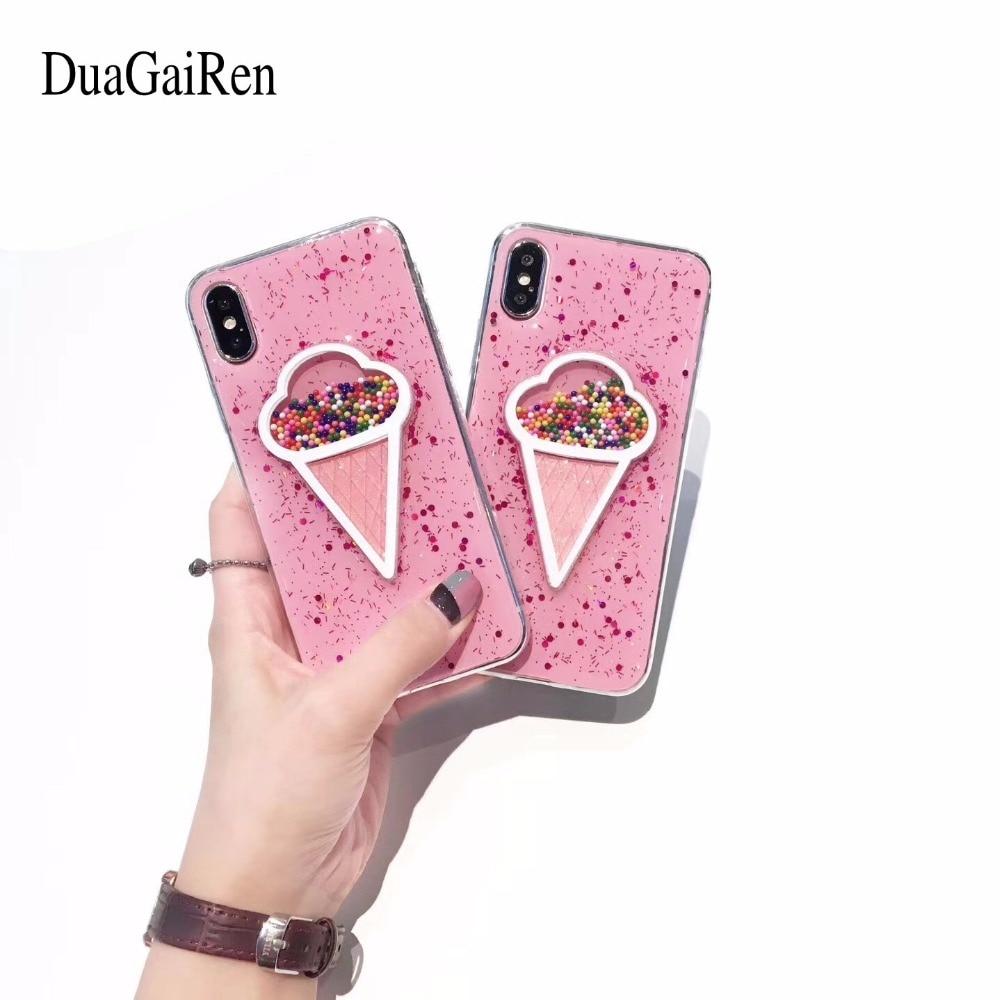 DuaGaiRen Love Icecream Quicksand Glitter Liquid Soft TPU Case For iPhone 7 7Plus 6S 6Plus 8 8Plus X