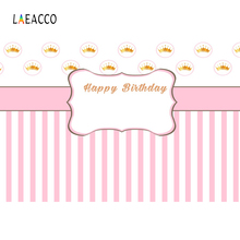 Laeacco Pink Stripe Golden Crown Happy Baby Birthday Party  Newborn Photo Background Photography Backdrop Photocall Studio