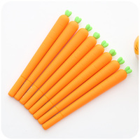 24 Pcs Lot Novelty Carrots Gel Pen Silicone Body Black Ink Cute Vegetable Stationery Office School