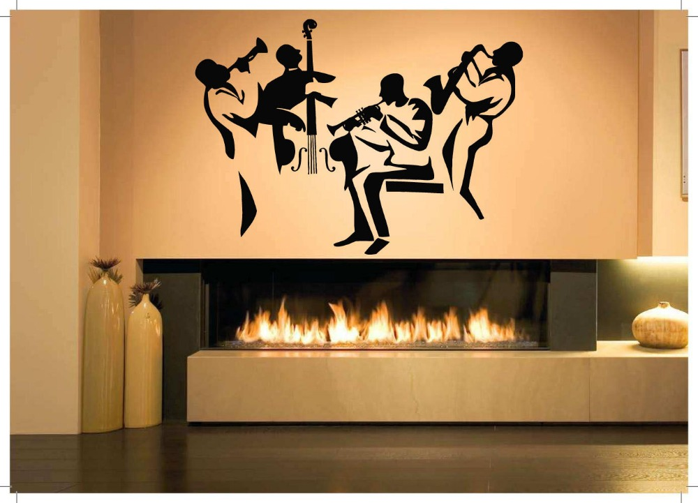Music vinyl wall decal music jazz band performers mural art wall sticker band room bedroom home decoration in wall stickers from home garden on
