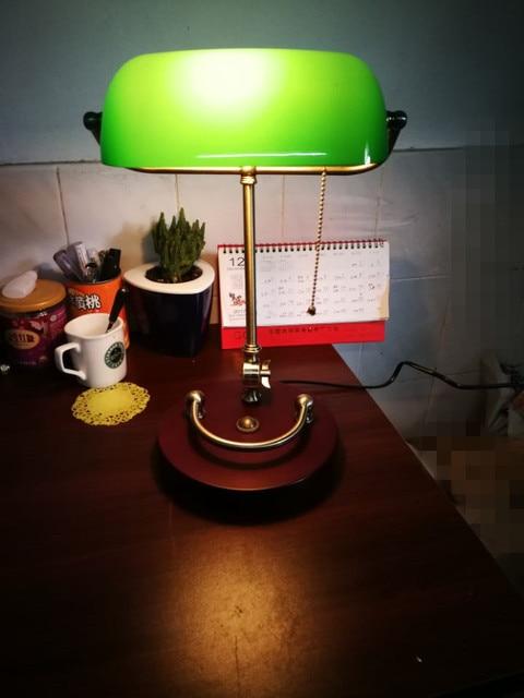 Bankers Desk Lamp Vintage Table Lighting Fixture Green Glass Cover Shade  Birch Wood Base Antique Adjustable