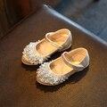 2016 otoño kids party rhinestone shoes niñas solos zapatos de la princesa plana shoes oro plata colores niños pu leather shoes tamaño 26-36
