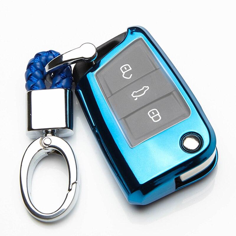 Nouveau étui de clé de voiture TPU pour Skoda Octavia A5 A7 A4 2 RS Rapid Kodiaq Yeti superbe 3 Karoq Fabia 2017 2018 accessoires de porte-clés