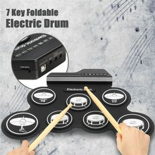 7 Pad Digital Electronic Foldable Roll Up USB Drum Kit +Drumstick Pedal Cable Portable Electronic Drum Pad With Stick Music Set