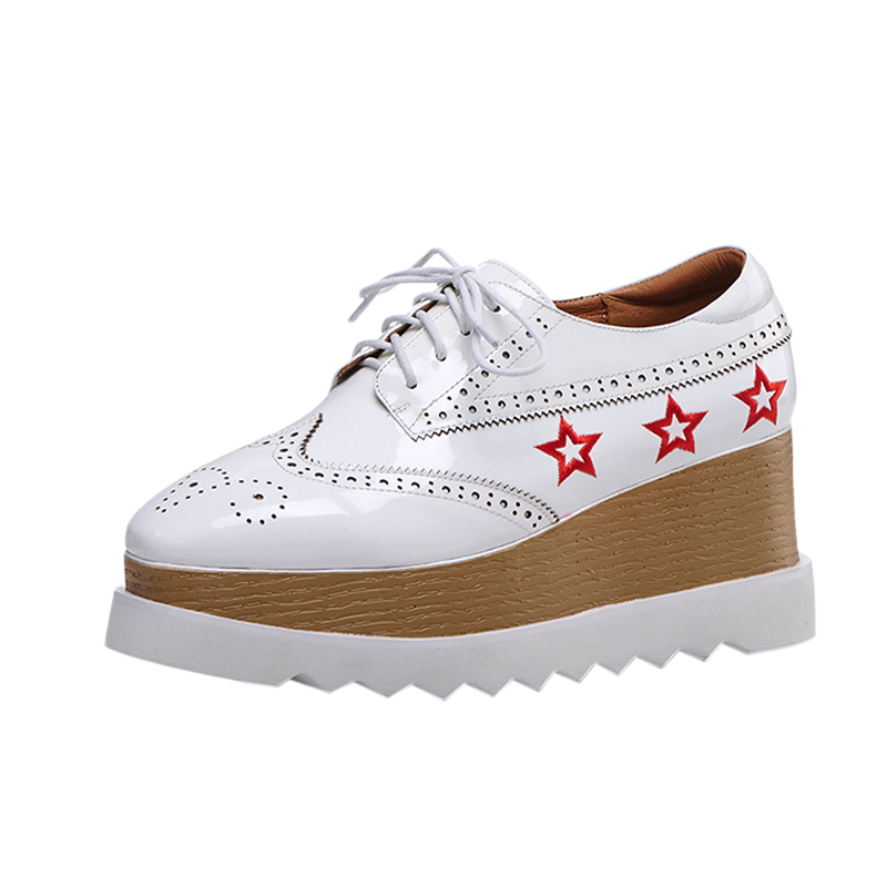 Thick-bottomed British style spring and autumn new single shoes tide brand leather retro wedge casual shoes.