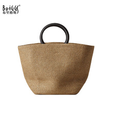 BRIGGS Fashion Women Casual Tote Bag Summer Solid Straw Female Shoulder Handmade Ladies Messenger Crossbody Bohemia