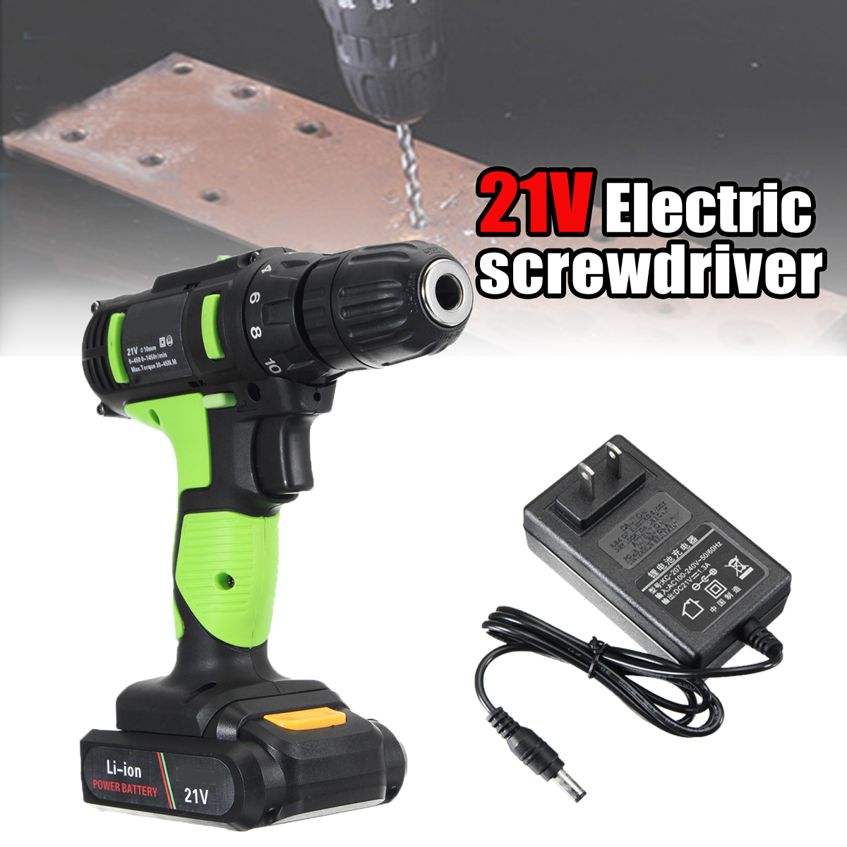 Rechargeable Electric Screwdriver 21V Li-ion Electric Charging Power Drill Two Speed 30-45Nm Hand Tools 21v battery screwdriver electric mini cordless two speed charged drill power tools impact li ion screwdriver drille