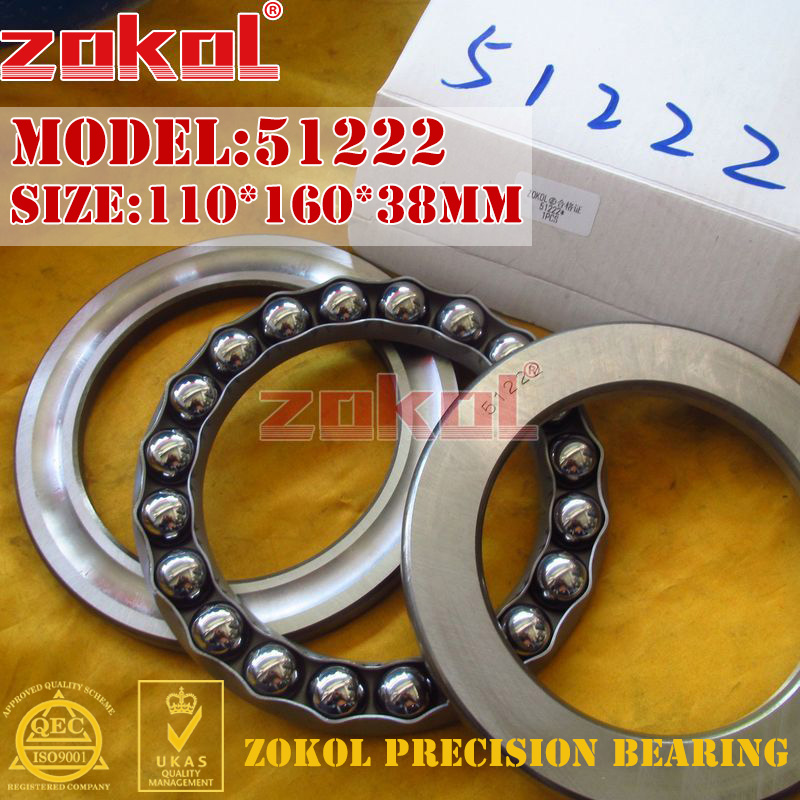 ZOKOL bearing 51222 Thrust Ball Bearing  8222 110*160*38mm zokol bearing 51134m thrust ball bearing 8134h 170 215 34mm